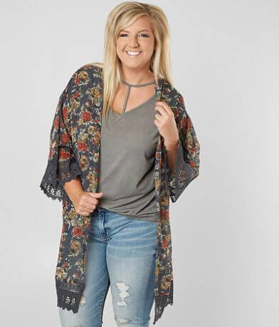 Angie Floral Chiffon Cardigan - Plus Size Only