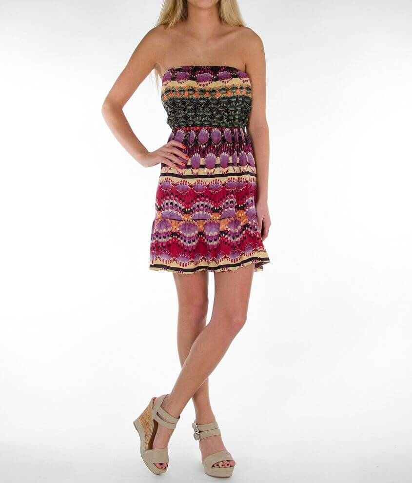 Angie Patterned Tube Top Dress front view