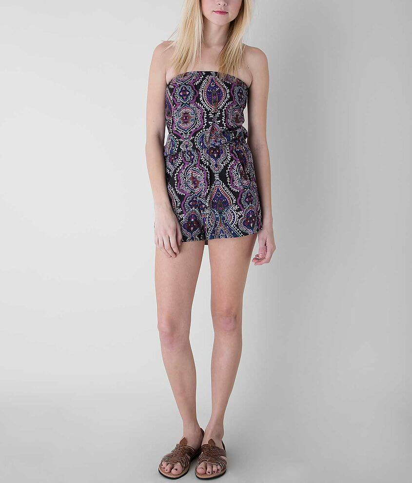 Angie Elasticized Tube Top Romper front view