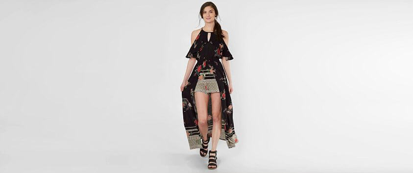 Angie Floral Maxi Romper front view