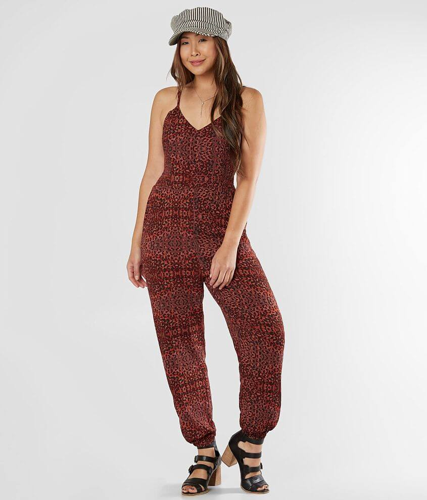 Angie Animal Print Jumpsuit front view