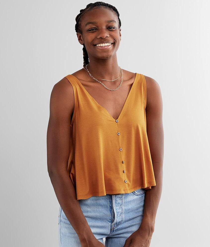 Angie Flowy Double V-Neck Tank Top front view