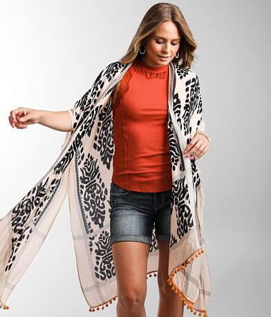 Angie Tassel Trim Printed Kimono - One Size