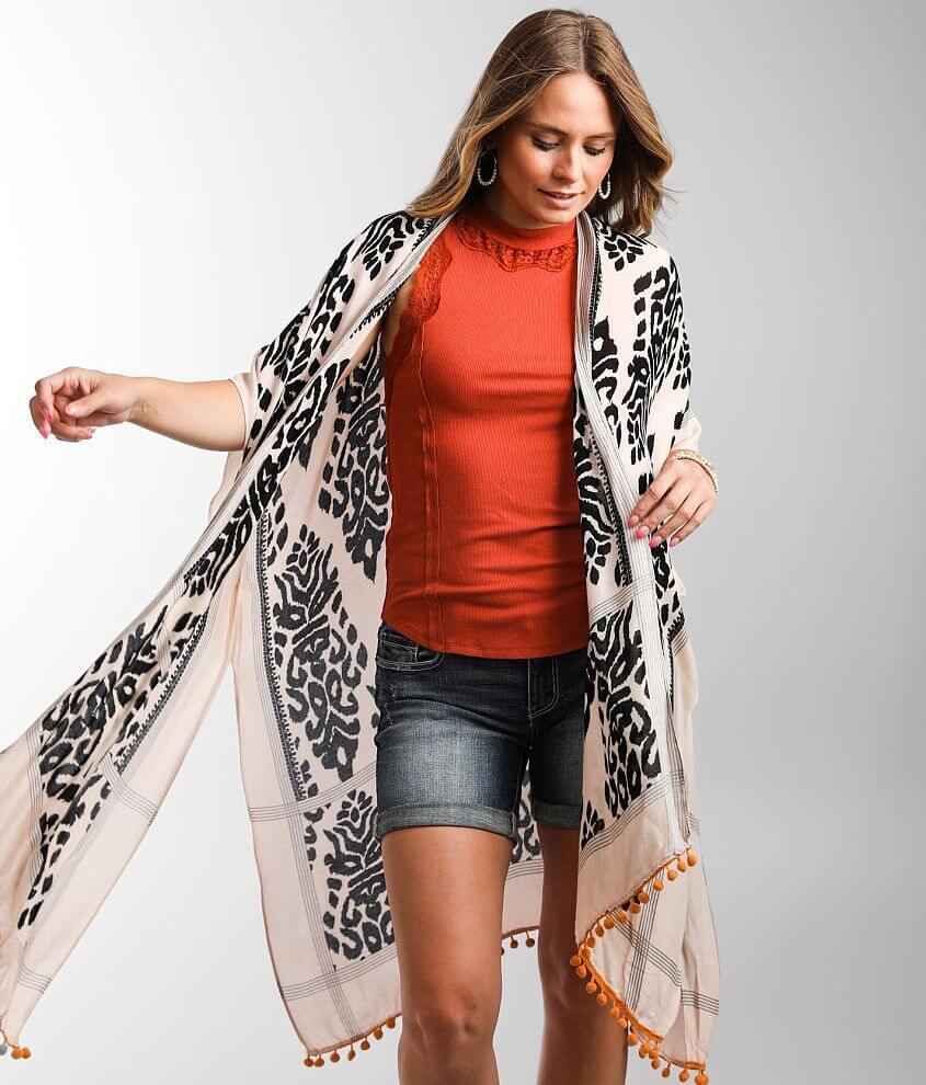Angie Tassel Trim Printed Kimono - One Size front view