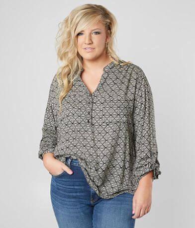 Angie Split Neck Henley Top - Plus Size Only