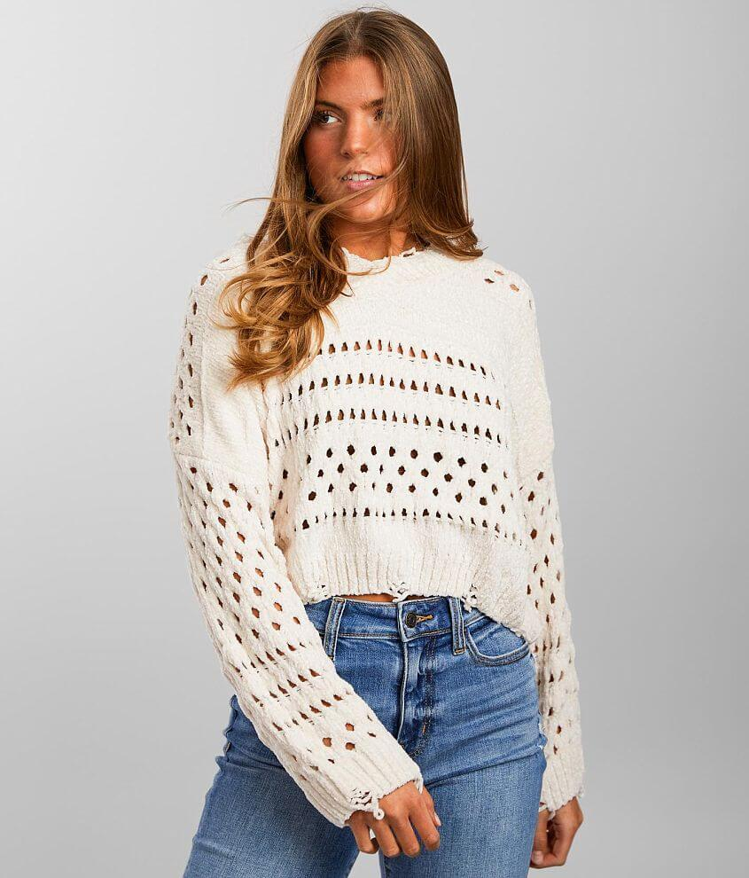 Angie Holey Knit Cropped Chenille Sweater front view