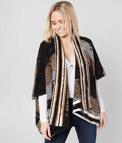 BKE Chenille Split Striped Cardigan Sweater