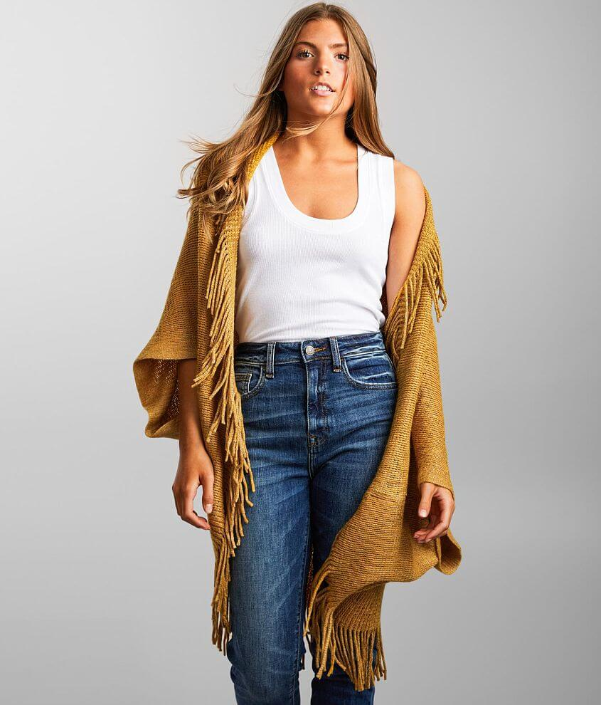 Angie Fringe Trim Cocoon Cardigan Sweater front view