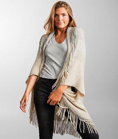 Angie Fringe Trim Cocoon Cardigan Sweater