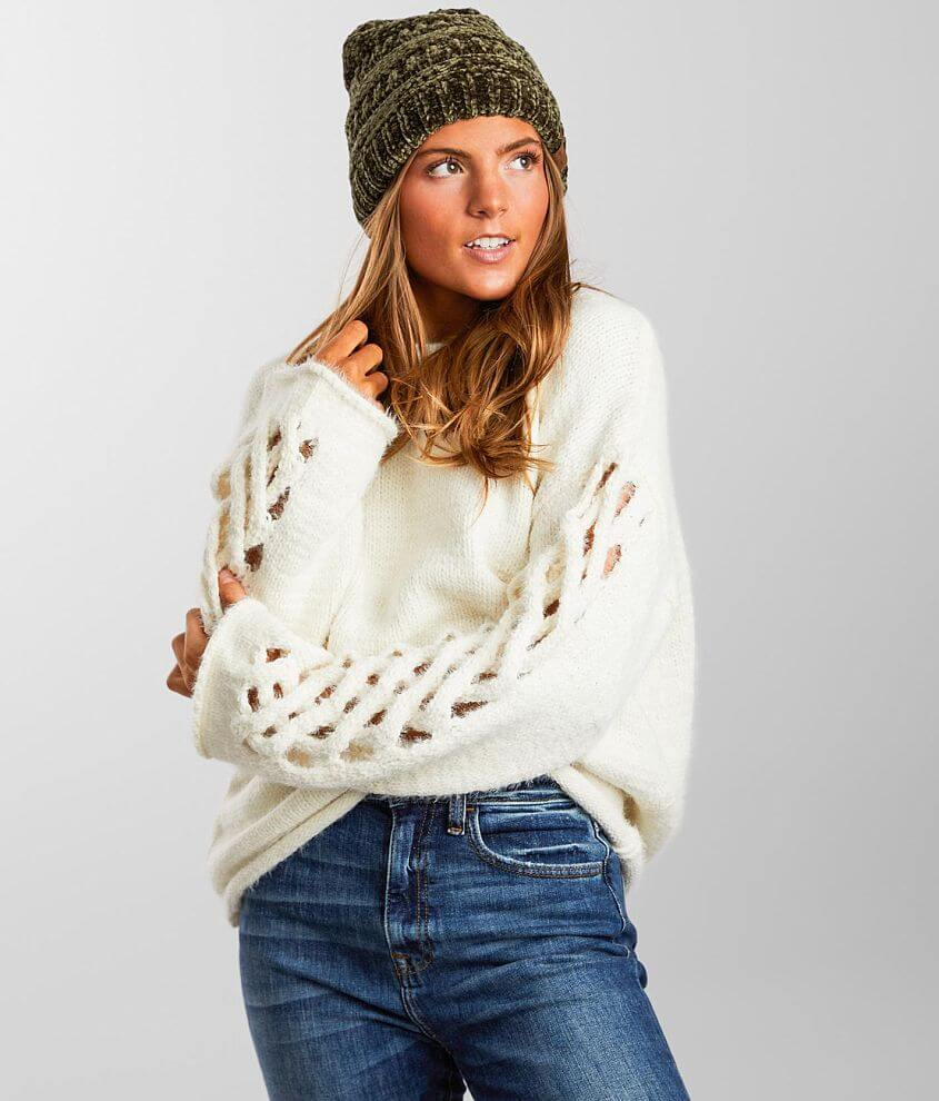 Angie Chenille Open Cable Knit Sleeve Sweater front view