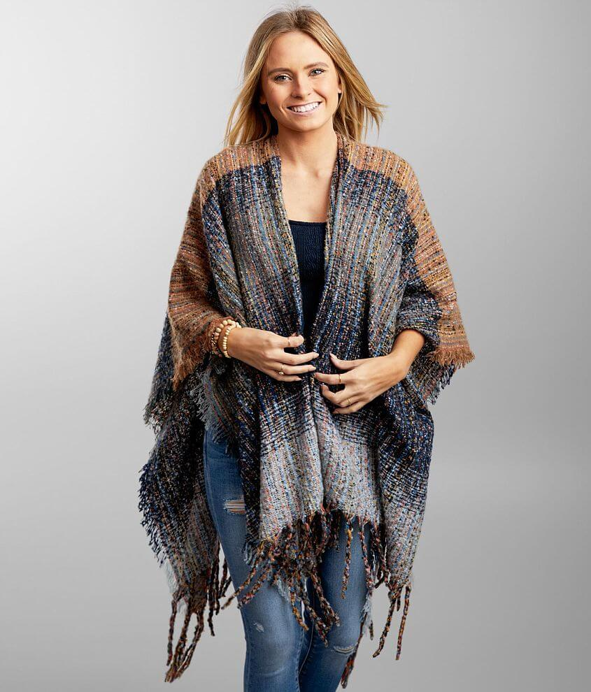 Angie Nubby Ruana Poncho front view