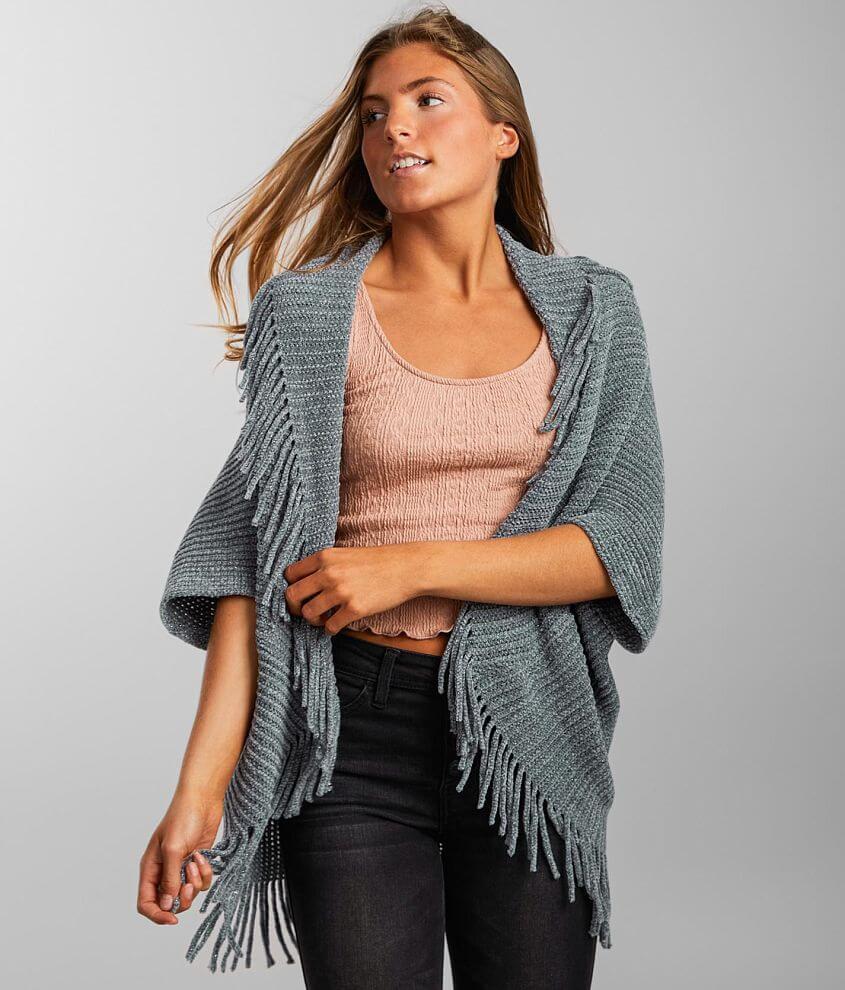 Angie Metallic Chenille Fringe Cardigan Sweater Women's