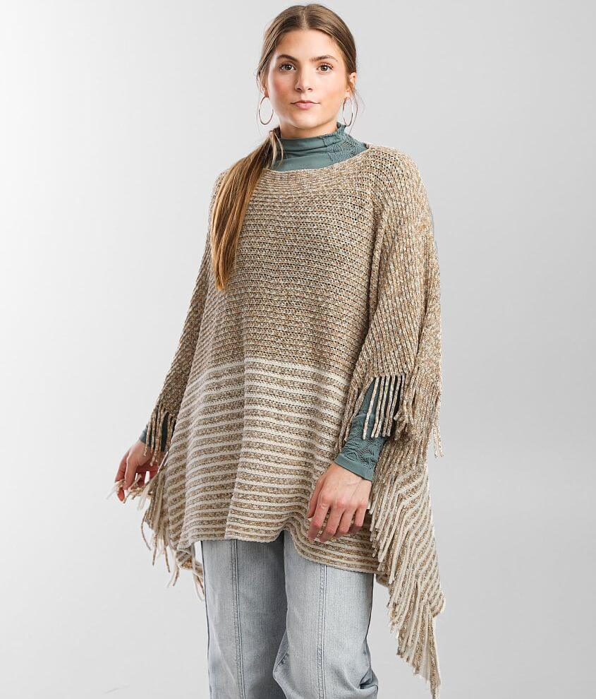 Angie Chenille Striped Sweater Poncho - One Size front view