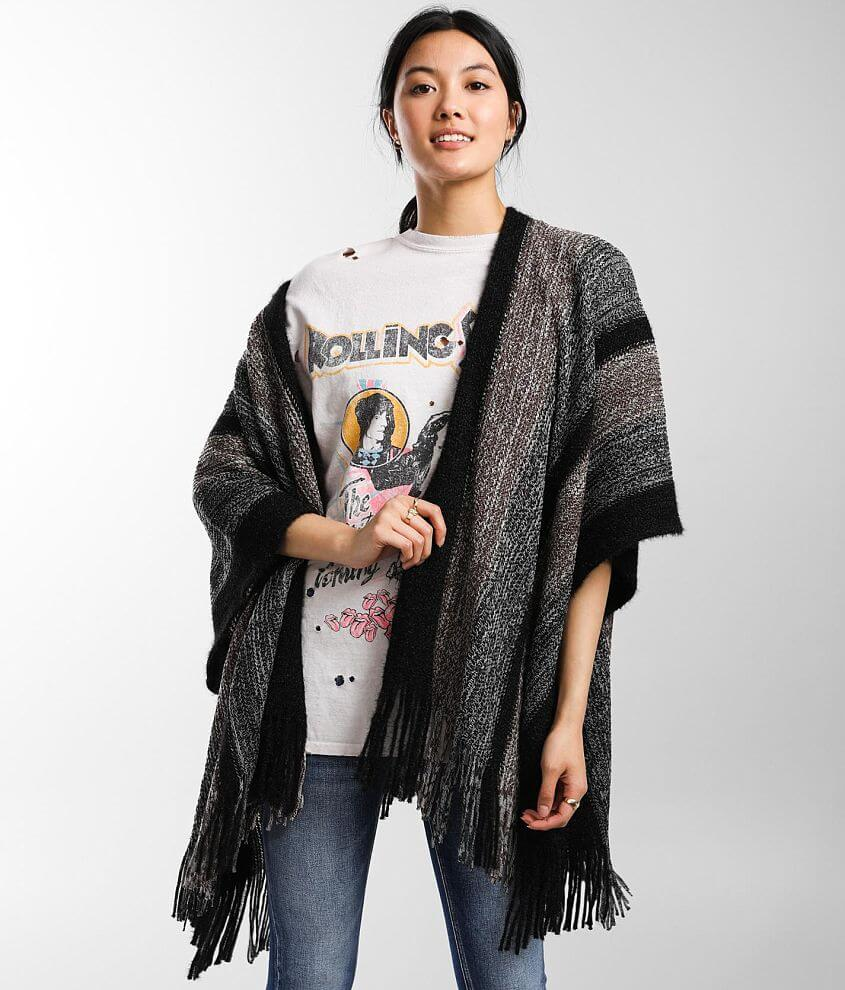 Angie Fringe Poncho Cardigan Sweater front view