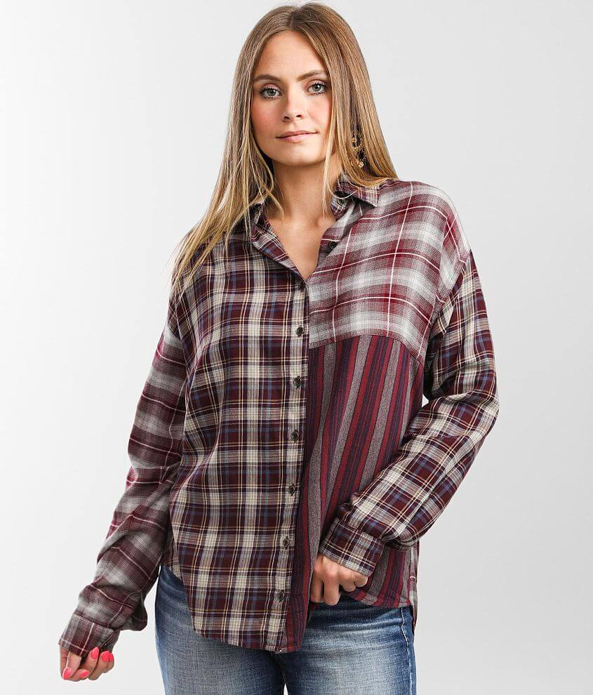 Angie Mixed Plaid Shirt front view