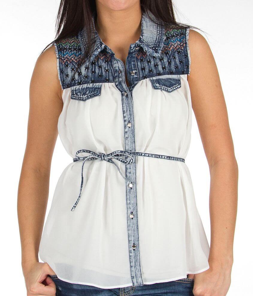 Daytrip Pieced Sleeveless Shirt front view