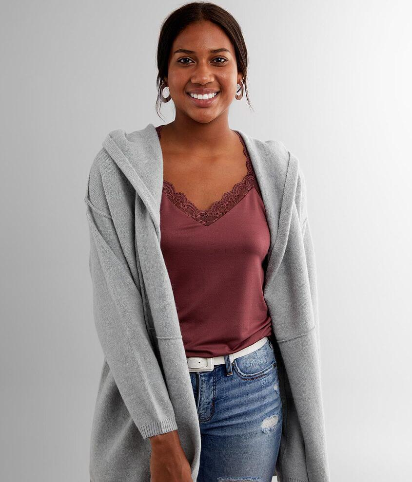 BKE Hooded Cardigan Sweater front view