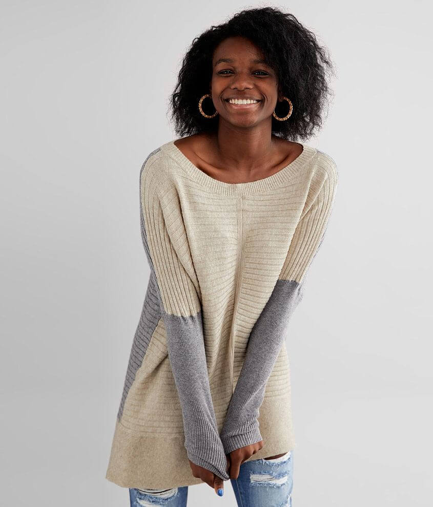 BKE Color Block Ribbed Pullover Tunic Sweater front view