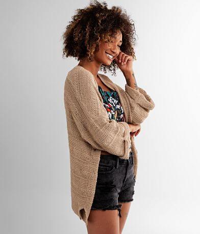 BKE Spongy Slub Cardigan Sweater