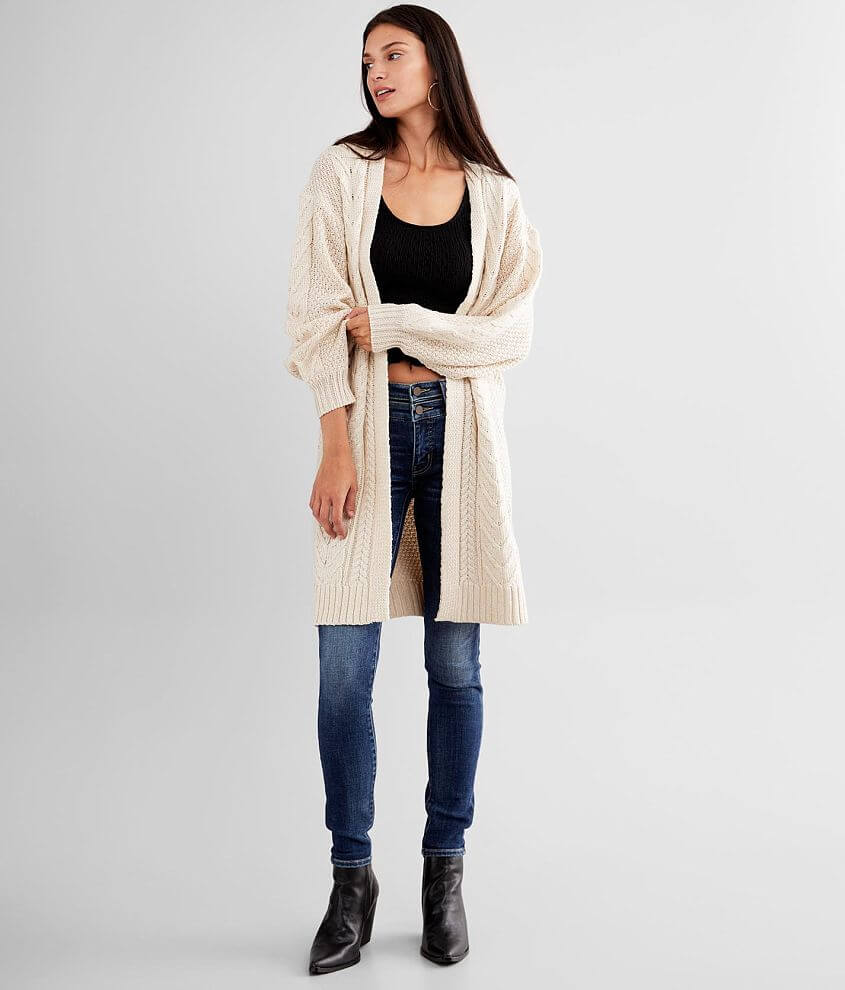 BKE Cable Stitch Cardigan Sweater front view