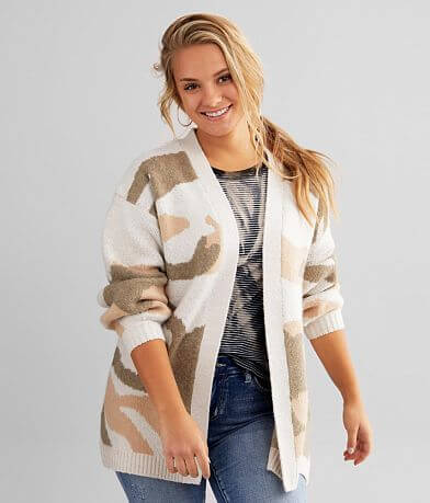 Gilded Intent Camo Cardigan Sweater