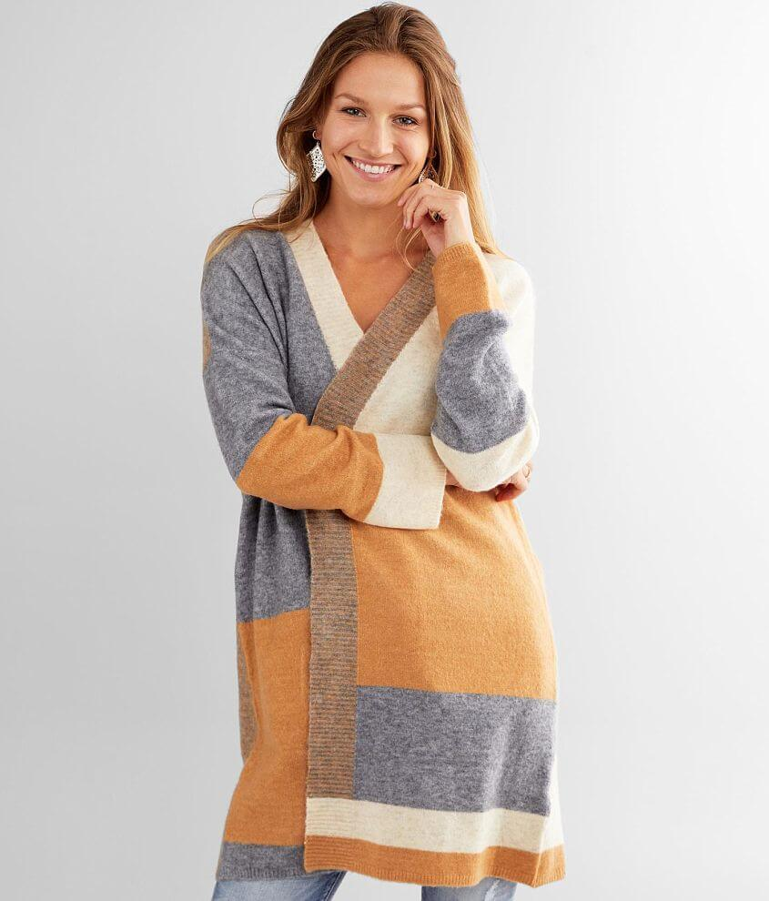 BKE Color Block Cardigan Sweater front view