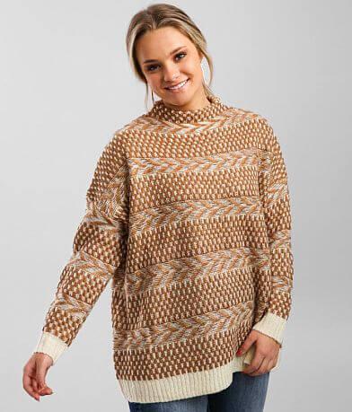 BKE Mock Neck Lurex Sweater