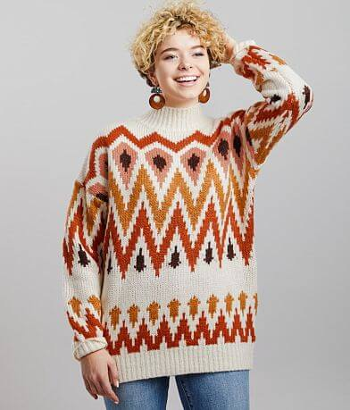 Gilded Intent Mock Neck Knit Sweater