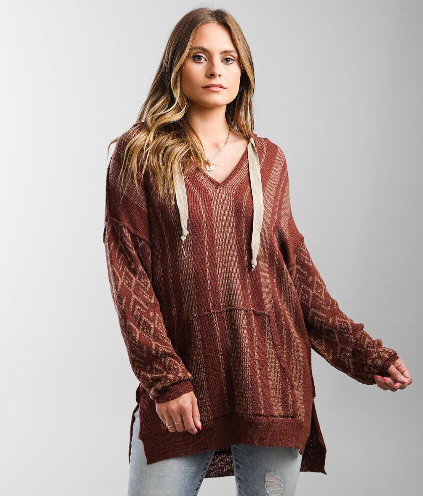 BKE Jacquard Hooded Pullover Sweater front view
