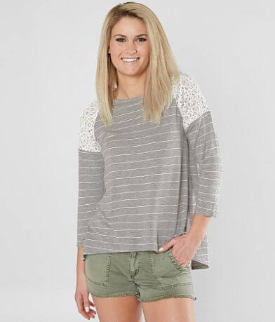 Eyeshadow Striped High Low Hem Top