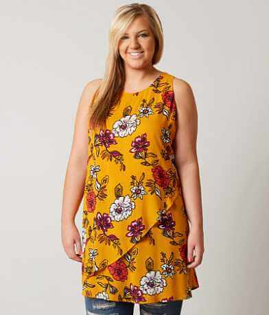 Eyeshadow Floral Tunic Tank Top - Plus Size Only