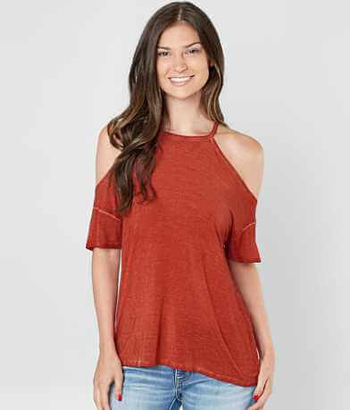 Daytrip Washed Cold Shoulder Top