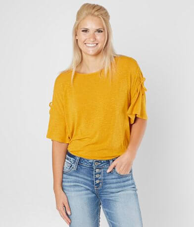Eyeshadow Ribbed Scoop Neck Top