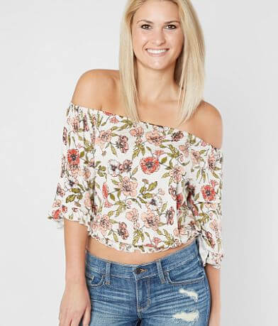 Daytrip Floral Off The Shoulder Cropped Top