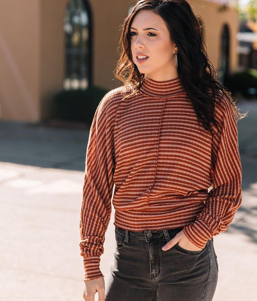 Willow & Root Mock Neck Striped Top front view