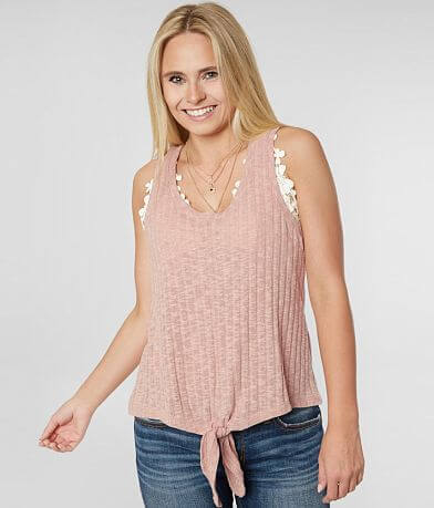 Eyeshadow Open Weave Knit Tank Top