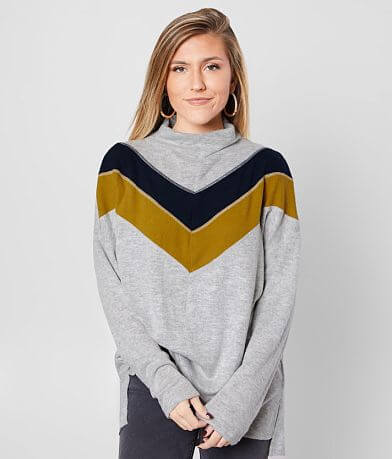 BKE Chevron Brushed Knit Top