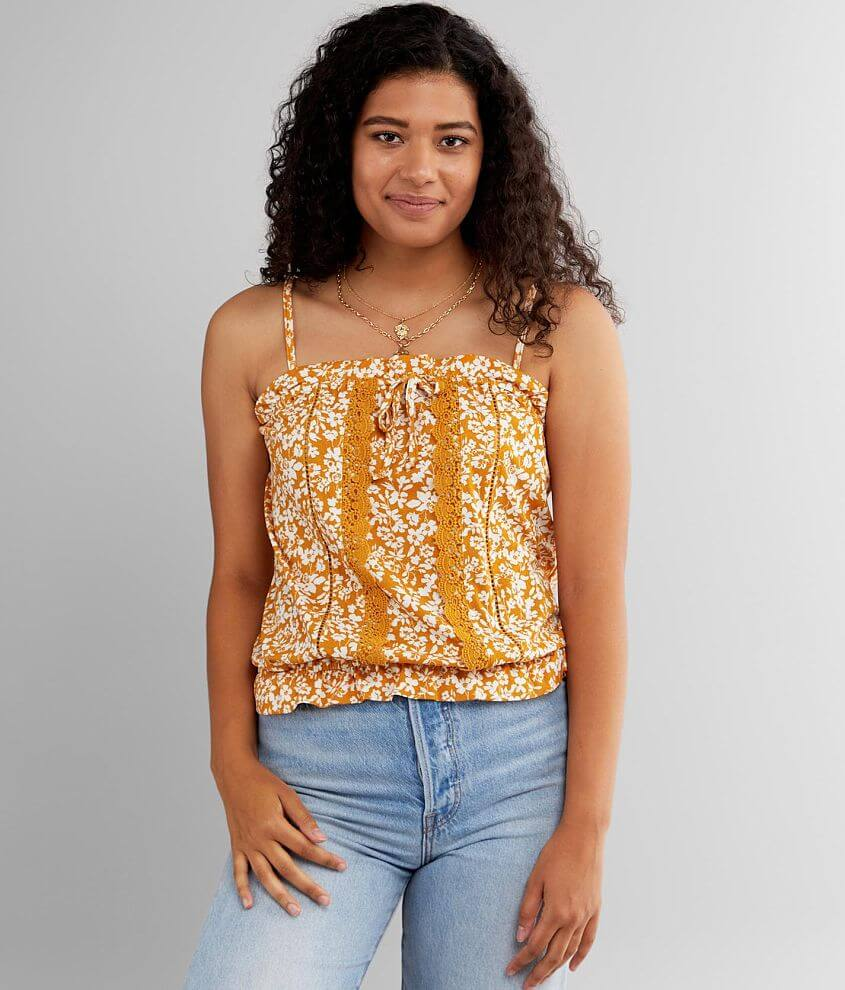 Daytrip Floral Ruffle Tank Top front view