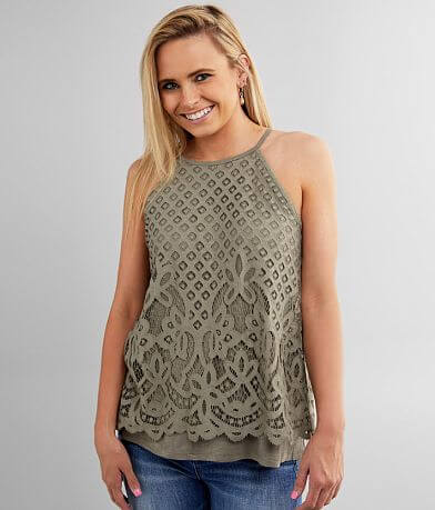 Daytrip High Neck Lace Overlay Tank Top