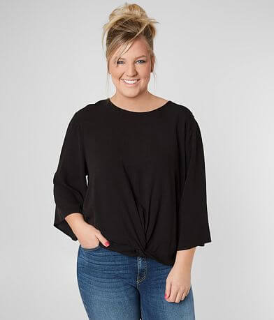 7354e32a4b84a Eyeshadow Twisted Hem Top - Plus Size Only