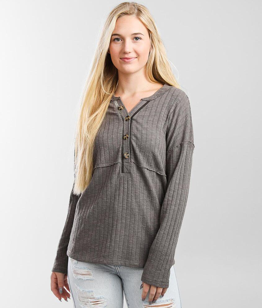 BKE Wide Ribbed Henley Top front view