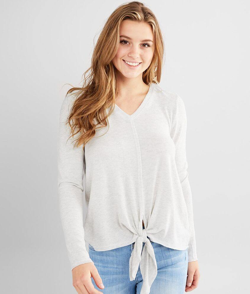 Eyeshadow Brushed Knit Front Tie Top front view
