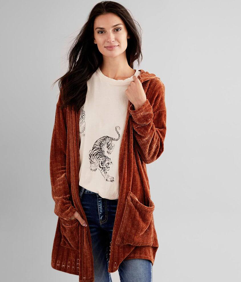 Daytrip Chenille Hooded Cardigan front view