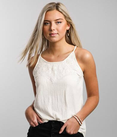 Daytrip Embroidered Lace Tank Top