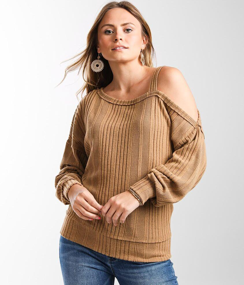 Daytrip Textured Cold Shoulder Top front view