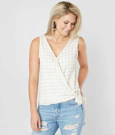 Eyeshadow Surplice Checkered Tank Top