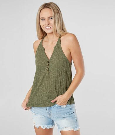 Daytrip Ribbed Henley Tank Top