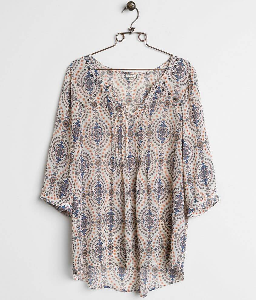 Eyeshadow Printed Top - Plus Size Only front view