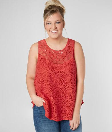 Eyeshadow Lace Overlay Tank Top- Plus Size Only