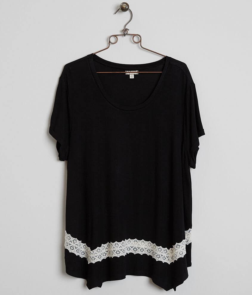 Eyeshadow Scoop Neck Top - Plus Size Only front view